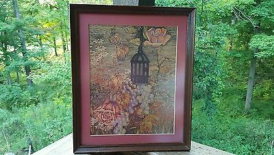 Antique 1900s Realism Ink Pen Rose Wild Flower Bird Cage Signed Original OOKArt