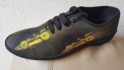 PRADA Yellow & Black Racecar Sneaker With Molded Rubber Track Sole Sz 9UK/10 US (Prada Rubber Sole Sneakers)