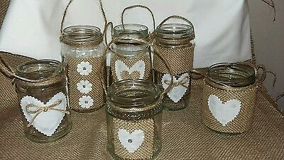 6 Rustic/Vintage  Wedding Hanging/Centrepiece Jars for - Rustic Centerpieces For Weddings