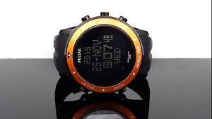 Pulsar PQ2017 Digital World Time Chronograph Orange Bezel Black Band Men's Watch
