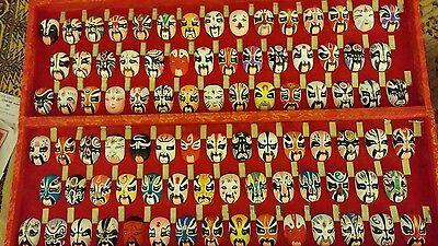 88 Vintage Miniature Beijing Opera Kabuki Masks - Boxed VGC