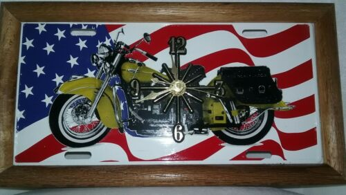License Plate Wall Clock, Motorcycle with Flag Background