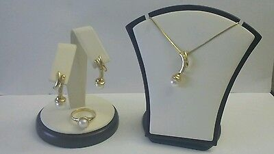 18K Solid Gold Pearl and Diamond Jewelry Set Ring Earrings & Necklace
