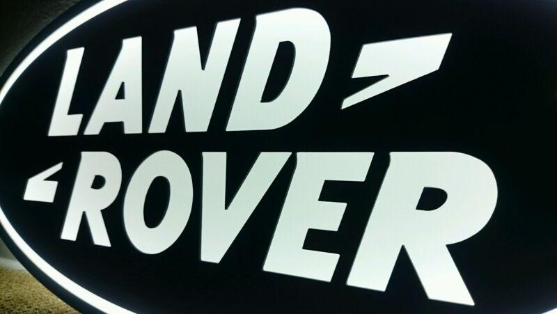 Land Rover sign lighted sport car garage racing range Rover 3D