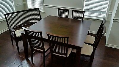 Homelegance Highlander Contemporary Dining Table, 6 Chairs and Bench