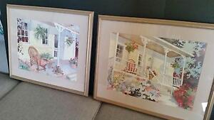 Lovely PAIR of matching prints of watercolour paintings, verandah Gorokan Wyong Area Preview