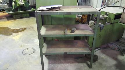 Small industrial shelving unit.