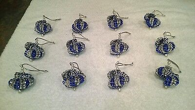 Blue And Silver Christmas Ornaments (12 HANDMADE CHRISTMAS ORNAMENTS MADE WITH BLING  ROYAL BLUE AND)