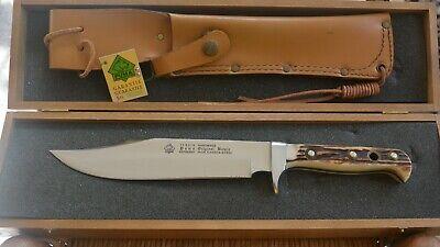 """Vintage Puma 6376 8"""" Bowie Knife Stag Handle & Sheath In Presentation Box, 1991"""