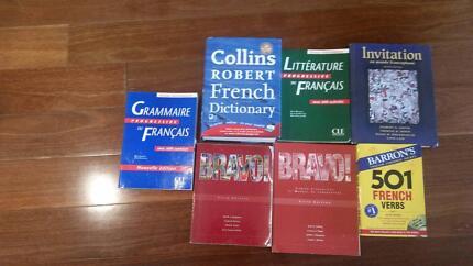 French workbooks and jumbo dictionary