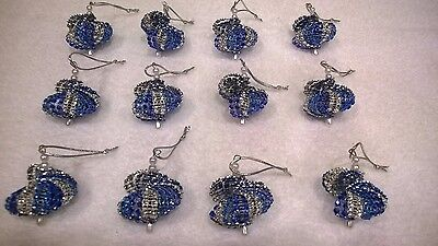 Blue And Silver Christmas Ornaments (12 HANDMADE CHRISTMAS ORNAMENTS MADE WITH BLING BLUE SILVER AND ROYAL)