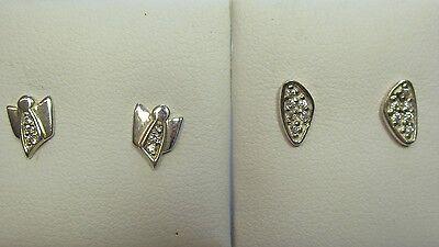 372 - Zwei Paar kleine Ohrstecker mit Zirkonia aus 925 Silber  - 2129
