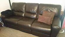 Brown leather double recliner lounge Grays Point Sutherland Area Preview
