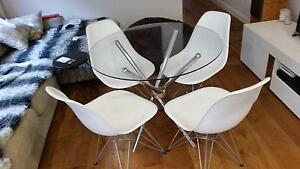 Round Glass dining table & 4 Eames Replica chairs for sale Newtown Inner Sydney Preview