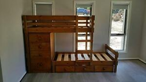 'Bunkers' Longwall Bunk Bed with chest and underbed drawers West Pymble Ku-ring-gai Area Preview