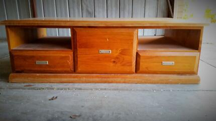 SOLID COFFEE TABLE DRAWS OPEN SPACE HOME FURNITURE WOOD DECOR BIG