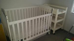 Cot with mattress & change table Balgownie Wollongong Area Preview