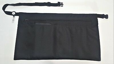 5 Pocket Black Waist Apron Waiter Waitress Clip-on Server Apron W Zipper Pocket