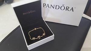 14 carat gold Pandora bracelet, with 3 diamond charms Bargara Bundaberg City Preview
