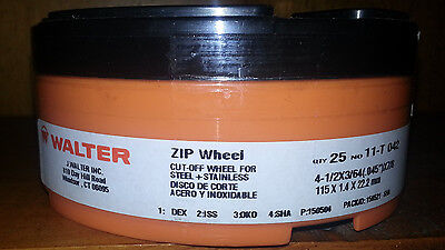 Walter 11-T-042 High Performance Zip Wheels 4-1/2 X 3/64 X 7/8 A60 Grit Qty 25