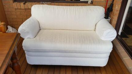 SOFA BED CREME 2 SEATER MORAN GOOD CONDITION USED Oak Flats Shellharbour Area Preview
