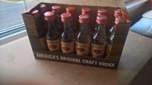 12 EMPTY Tito Vodka Texas 50ml Clear Glass Mini Liquor Bottles Gift Pak Full Dzn