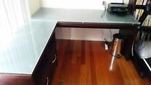 SOLID TIMBER DESK WITH TEMPERED GLASS - BARGAIN PRICE Bundoora Banyule Area Preview