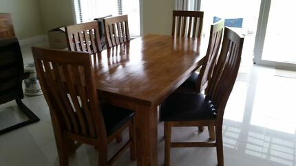 Mountain ash dining table and 6 chairs Moama Murray Area Preview