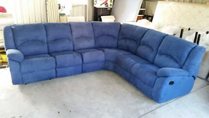 Blue Corner Lounge with Built In Recliners Broadmeadow Newcastle Area Preview
