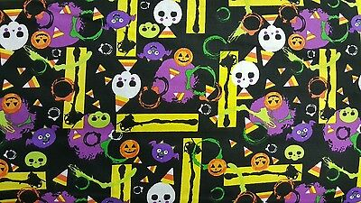 Halloween Spooky Pumpkin Time Purple 100% cotton fabric by the - Purple Halloween Pumpkin