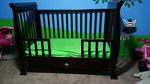 Dark timber sleigh cot/toddler bed with drawer Emu Plains Penrith Area Preview