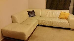 100% LEATHER CORNER LOUNGE WITH CHAISE Albany Creek Brisbane North East Preview