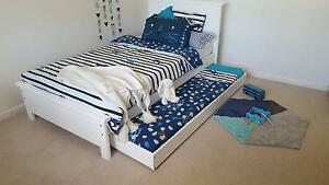 KING SINGLE BED & SINGLE TRUNDLE - WHITE - AUSTRALIAN MADE Williamstown Hobsons Bay Area Preview