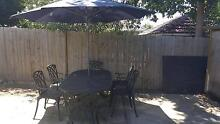 Solid Metal Outdoor Table with 6 Chairs and Umbrella, BBQ Croydon Burwood Area Preview