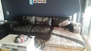 Used Leather Lounge with Chaise & Ottoman Crows Nest North Sydney Area Preview