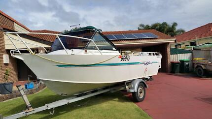 2000 5.5mtr Belvedere Aluminium Boat with 70hp Johnson Outboard