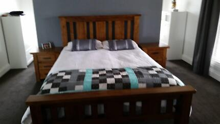 Mountain ash QS bed suite, bedsides and tall boy Moama Murray Area Preview