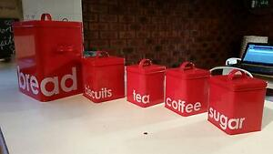 Red Matching Tea, Coffee, Sugar, Biscuit, Bread baskets/tins Mill Park Whittlesea Area Preview