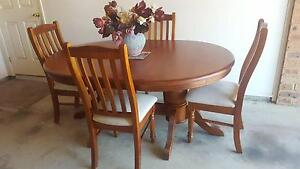 Extendable wooden dining table with 4 chairs Doonside Blacktown Area Preview