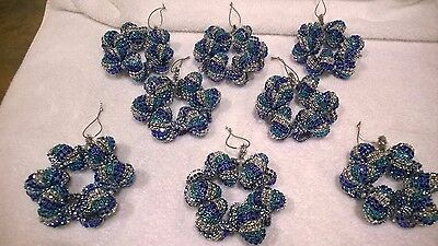 8 At liberty  HANDMADE CHRISTMAS ORNAMENTS MADE WITH BLING Dejected SILVER AND TEAL