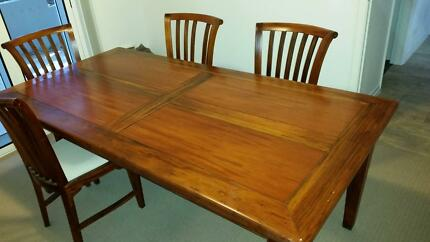 6 seater timber dining table and chairs Coorparoo Brisbane South East Preview