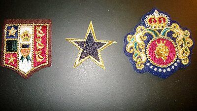 Vintage Set of 3 Royal, Heraldic, Crest Family, Etc. Patches