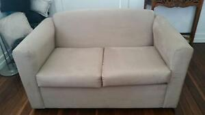 2 seater Latte Microfiber lounge Excellent condition Silkstone Ipswich City Preview