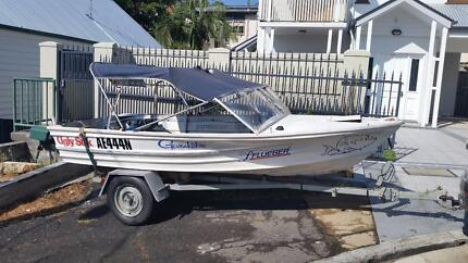 Quintrex 4.2m, night lights safety gear, boat & trailer have rego