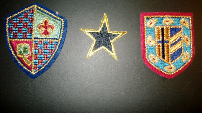 Vintage Set of 3 Royal, Heraldic, Crest Family, Coat of Arms, Etc. Patches