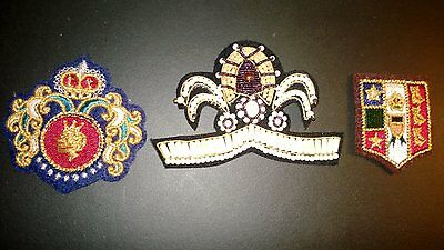 Vintage Set of 3 Royal, Heraldic, Crest Family,Coat of Arms, Etc.  Patches