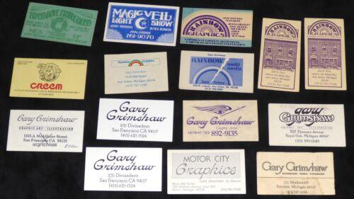 GARY GRIMSHAW BUSINESS CARD SET OF 15 SIGNED CREEM MAGAZINE ROBERT CRUMB MC5