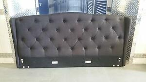 King Size Louis Style Padded Woven Bed Frame Buttoned Bed Head Balwyn Boroondara Area Preview