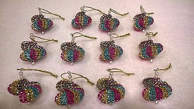 Teal Christmas Ornaments (12 HANDMADE CHRISTMAS ORNAMENTS MADE WITH BLING GOLD  HOT PINK AND)