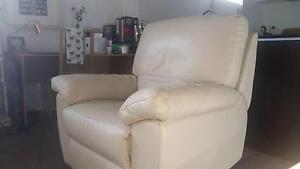 Armchair recliner in white leather South Melbourne Port Phillip Preview